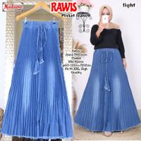 Rok Panjang Wanita Rawis Plisket Jeans