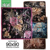 Jilbab Akel Turki Satin Silk Motif Bunga Segi Empat Premium