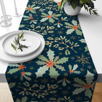 TAPLAK MEJA TABLE RUNNER NATAL GREEN CHRISTMAS 140X40CM