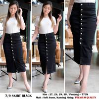 Rok Jeans Wanita / 7per9 Skirt Jeans / Black 0279 / Bluewashed 0287