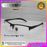 Kacamata Minus Plus Pria Sporty Half Photocromic Porsche Magnesium