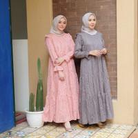 [REAL PICTURE] AISYAH BROCADE DRESS BRUKAT + SATIN TANAH ABANG PGMTA