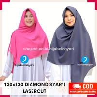 Hijab Jilbab Segiempat Diamond Laser Cut Syari Kerudung Segi Empat