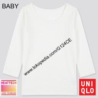 LONG JOHN UNIQLO BABY TODDLER T-SHIRT BAYI HEATTECH SCOOP NECK WHITE
