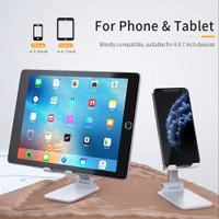 Folding Desktop Phone Stand HP Tablet Holder Adjust Lipat Tinggi Sudut