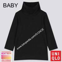 LONG JOHN BAYI UNIQLO BABY TODDLER PULLOVER HEATTECH TURTLE NECK BLACK
