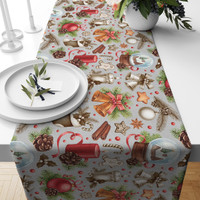 TAPLAK MEJA TABLE RUNNER NATAL CHRISTMAS BELL CINNAMON