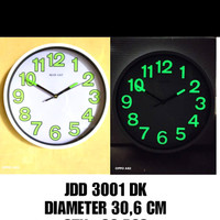 jam dinding sweep super silent glow in the dark 30cm