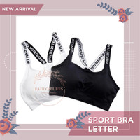 Sport Bra Letter Seamless BH Wanita Olahraga Tanpa Kawat Tank Top