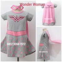 Baju Dress Kostum Karakter Superhero Girl SUPERGIRL WONDER WOMAN Pink