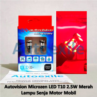 Autovision LED T10 W5W 2.5W Red Merah Lampu Senja Kota Motor Mobil