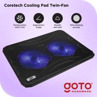Coretech Twinfan Cooling Pad Kipas Fan Pendingin Laptop Portable