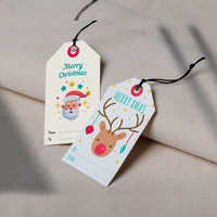 HANGTAG NATAL CUSTOM LABEL HADIAH KADO NATAL - Bahan BW Local