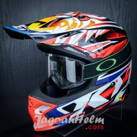 KYT HELM CROSS SKY HAWK TEMPAR | RED| + KACAMATA GOGGLE