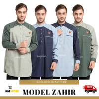 Baju Koko Kurta Pria Muslim Pakistan Dewasa Kemko Zayidan Model Zahir - Biru, S