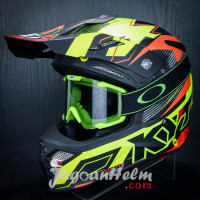 KYT HELM CROSS SKY HAWK DIGGER |MATT YELLOW ORANGE | + KACAMATA GOGGLE