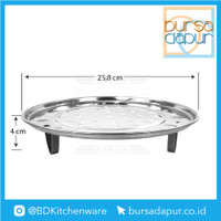 Steamer Plate Stainless Dengan Kaki / Sarangan / Kukusan 26 cm
