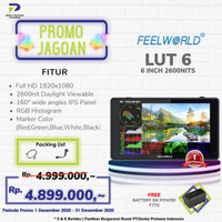 """Feelworld LUT6 6"""" Touch Screen DSLR Monitor HDR/3D LUT 4K HDMI"""