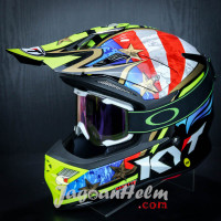 KYT HELM CROSS SKY HAWK HI FLY | WHITE YELLOW BLUE | + KACAMATA GOGGLE
