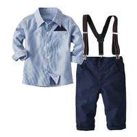 Setelan Kemeja Anak Laki Laki Stripe Blue - SZ 2TAHUN