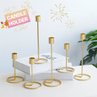 Golden Candle Holder Tempat Lilin Emas Besi Nordic Table Decoration