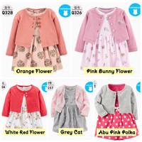 Dress Kardigan Bayi Anak Perempuan /Baju Pakaian Bayi Baru Lahir Impor - Yellow Flower, 12-18 Bln