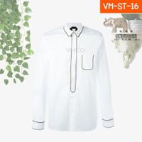 Kemeja Pria Casual Formal Lengan Panjang Putih Line Strip ST-16 - XS