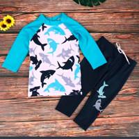 Baju Renang Anak Laki-Laki Lengan Panjang & Celana Panjang Shark-12