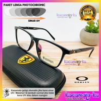 Kacamata Pria Kotak Lensa Photocromic Ferari Antiradiasi UV Protect