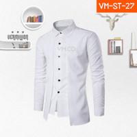 Kemeja Pria Casual Formal Lengan Panjang Solid Putih Semi Blazer ST-27 - XS