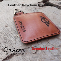 keychain leather gantungan kunci costum nama logo