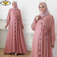 Gamis Linen Embos GZ 0153 Pink/ Gamis Polos Pink/ Gamis Serut