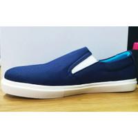 Sepatu Kanvas Pabrik Canvas Shoes Polos Slip On Blue Marlin