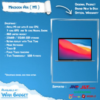 (IBOX) Macbook Air M1 2020 256GB 512GB - Garansi IBOX 1 Thn - 256GB INTER, SILVER