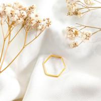 Cincin Segienam Wanita Eksklusif Koleksi Korea Elegan Gold Emas asli