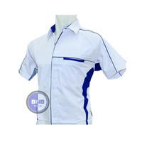 Kemeja Baju Seragam Putih Kombinasi Biru Bahan American Drill - S