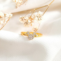 Cincin mickey Permata putih Wanita Koleksi Korea Elegan Gold Emas asli