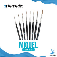Kuas Lukis Artemedia Miguel Round Sable-Syn Brush Set 8