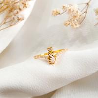 Ring Princess Love Permata Hati Hadiah Pacar Gold Cincin Wanita Emas