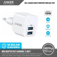 Anker Powerport Mini Dual Usb Port Wall Charger 12 Watt White A2620