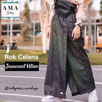 Celana Jeans Wanita Rickyrieez Rok Kulot Denim Katun Hitam Terlaris