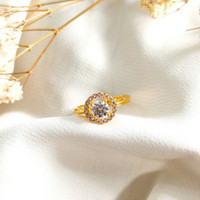 Ring Princess Full Permata Hadiah Pacar Gold Cincin Wanita Emas asli