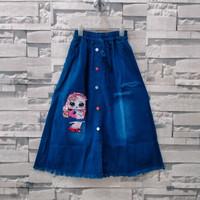 rok jeans panjang anak lol led bisa nyala usia 6-9thn