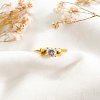 Ring Princess Permata Putih Hadiah Pacar Gold Cincin Wanita Emas asli