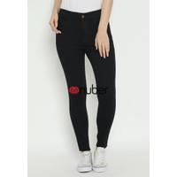 Celana Panjang Jeans Highwaist Wanita Black Hitam Stretch - KenangaV2