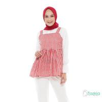 Atasan Muslim Wanita | Belle Blouse Merah | S M L XL |Gingham Top