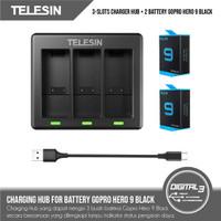 Telesin 3 Slot Battery Charging Hub + 2 Baterai GoPro Hero 9 Black