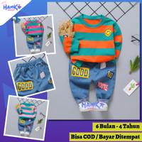 Setelan Baju Sweater Belang Import Bayi / Anak Laki Laki 1 2 3 4 tahun
