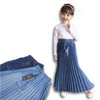 Rok plisket jeans anak 4th sampai 9th rok plisket anak