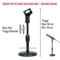 Desktop Stand Holder Microphone Round Base Mic Stand Meja Atur Tinggi